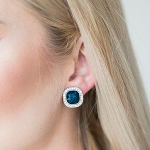 The Fame Game Blue Clip On Earrings